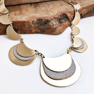 New York & Company gold silver glitter necklace